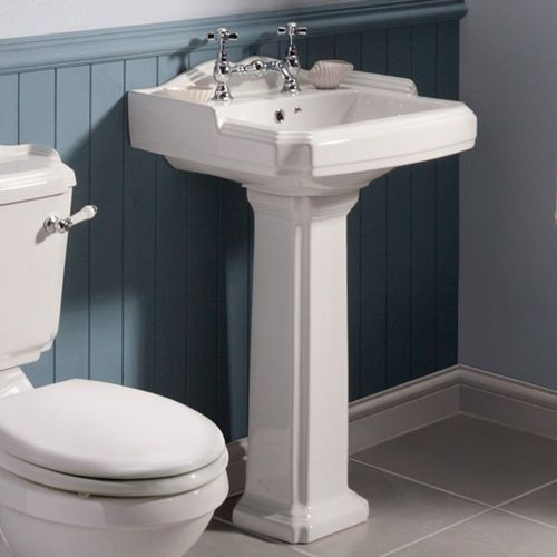 Fitzwilliam 580mm Basin & Full Pedestal - 2 Tap Hole